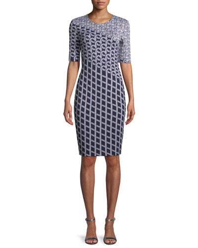 Chain Swirl Jacquard Knit Dress