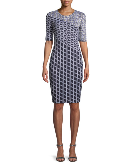 St. John Collection Chain Swirl Jacquard Knit Dress