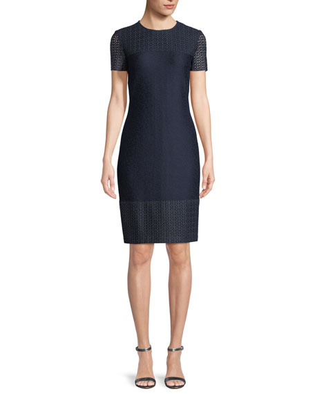 St. John Collection Caris Knit Lace-Trim Short-Sleeve Dress