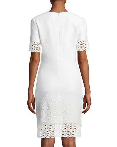 Caris Knit Lace-Trim Split-Neck Dress