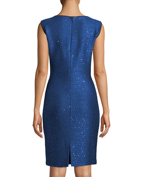 Luster Sequined Knit Sleeveless Cocktail Dress