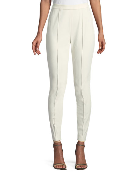 Mid-Rise Fine Stretch Twill Leggings w/ Ankle Zip
