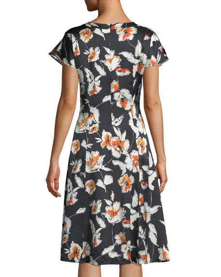 Modern Floral Hammered Satin Silk Self-Tie Neck Dress