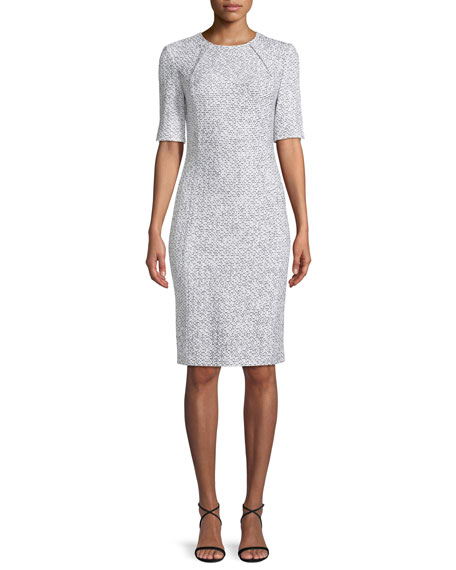 St. John Collection Olivia Boucle Knit Origami-Neck Dress