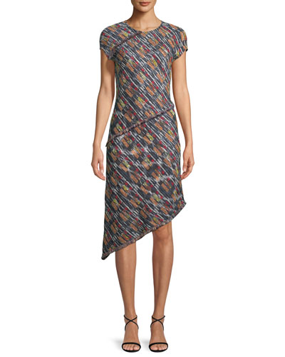 Painterly Multi-Tweed Knit Asymmetric Fringe Dress