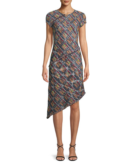St. John Collection Painterly Multi-Tweed Knit Asymmetric Fringe