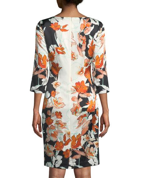 Modern Floral Stretch Charmeuse Dress