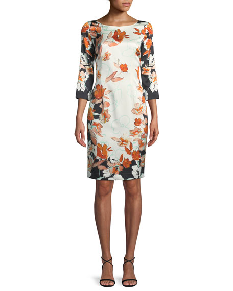 St. John Collection Modern Floral Stretch Charmeuse Dress