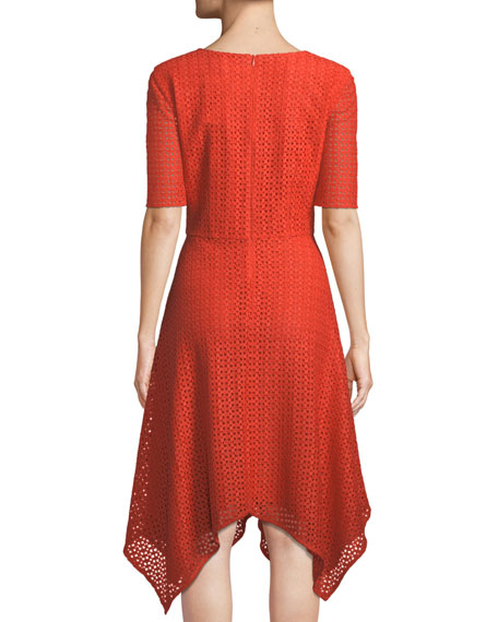 Geo-Motif Coated Lace Half-Sleeve Dress
