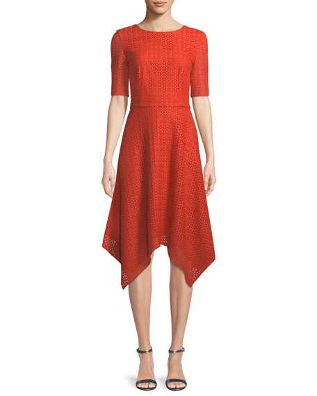 St. John Collection Geo-Motif Coated Lace Half-Sleeve Dress
