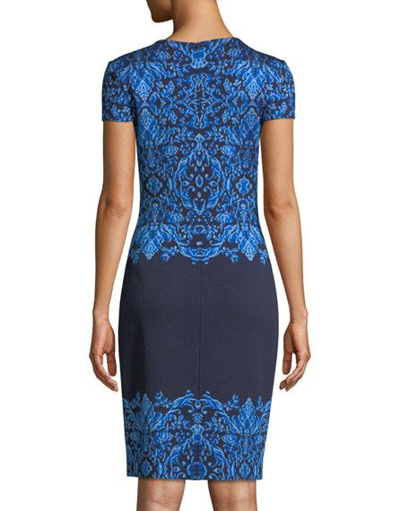 Brocade Graphic Short-Sleeve Knit Dress