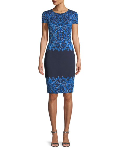 St. John Collection Brocade Graphic Short-Sleeve Knit Dress