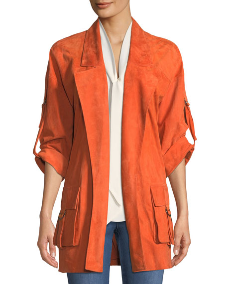 St. John Collection Silken Suede Slouchy-Sleeve Jacket
