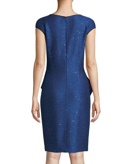 Luster Sequin Knit Peplum Cap-Sleeve Dress