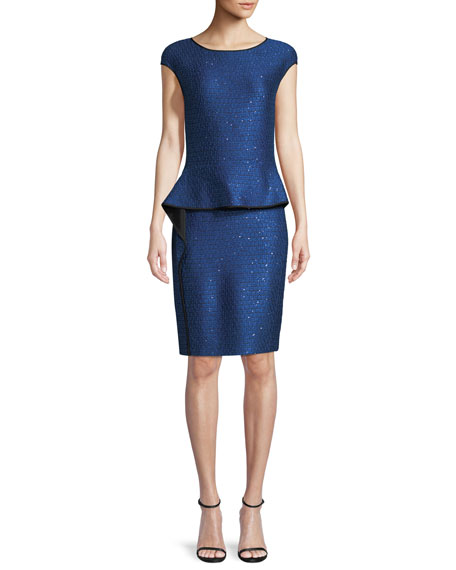 Luster Sequin Knit Peplum Cap-Sleeve Dress