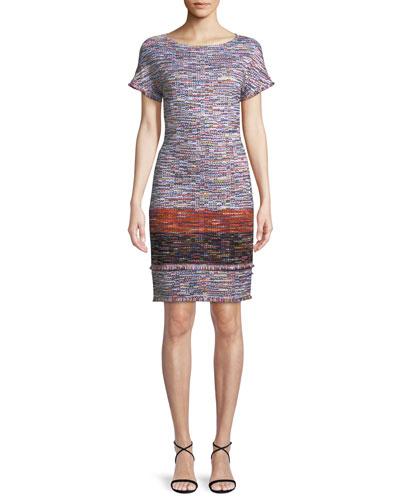 Multi-Tweed Knit Fringe Short-Sleeve Dress