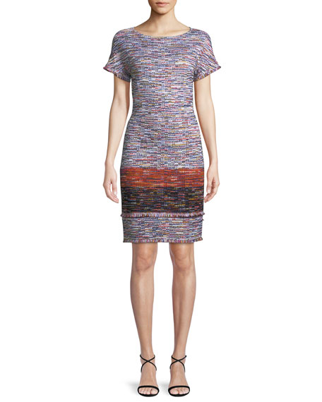 St. John Collection Multi-Tweed Knit Fringe Short-Sleeve Dress