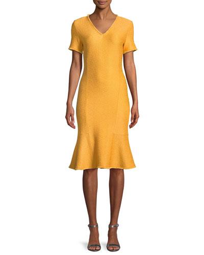 Caris Fringe-Trim Knit Short-Sleeve Dress