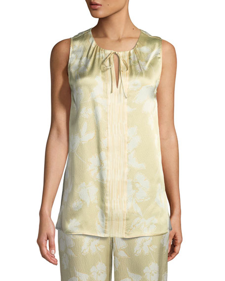 St. John Collection Outlined Painted Floral Silk Shell