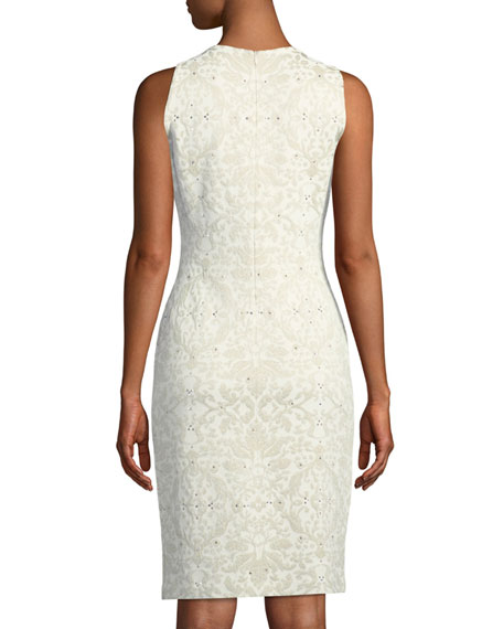 Gold Leaf Brocade Knit Sheath Cocktail Dress