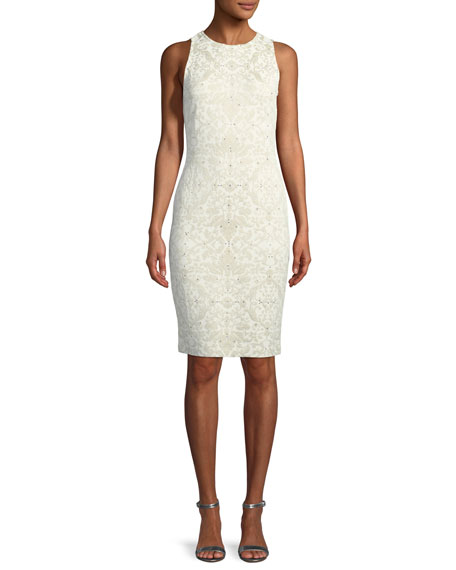St. John Collection Gold Leaf Brocade Knit Sheath