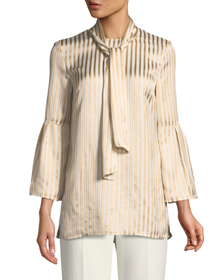 St. John Collection Tie-Neck Striped Satin Twill Bell-Sleeve Blouse