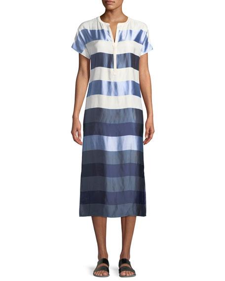 St. John Collection Block-Stripe Twill Dress