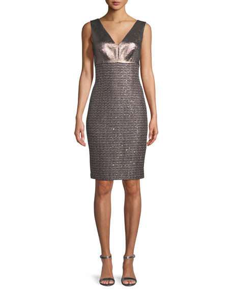 St. John Collection Twisted Sequin Knit V-Neck Dress
