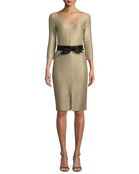 St. John Collection Glamour Sequin Knit V-Neck Dress
