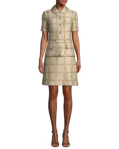 Goldenflag Plaid Knit Short-Sleeve Dress