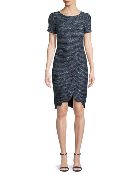 Twinkle Textured-Knit Scallop Dress