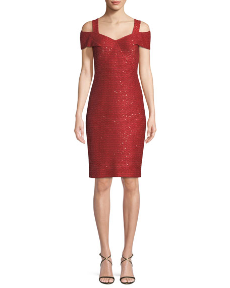 St. John Collection Glamour Knit Sequin Cold-Shoulder Dress