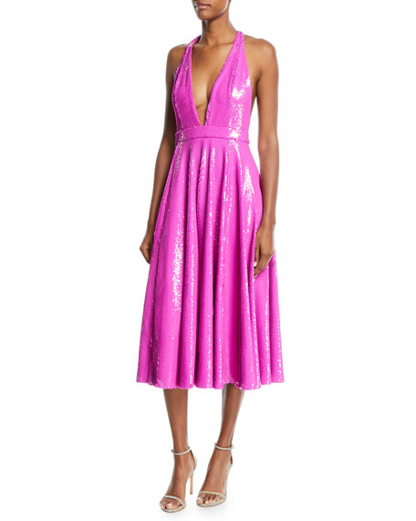 Jay Godfrey Plunging Tea-Length Halter Cocktail Dress