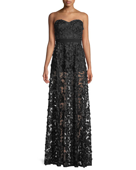 Embroidered Illusion Gown w/ Optional Straps