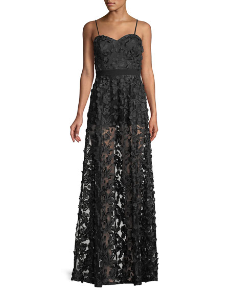 Aidan by Aidan Mattox Embroidered Illusion Gown w/