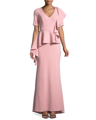 V-neck Peplum Gown w/ Cascading Ruffle