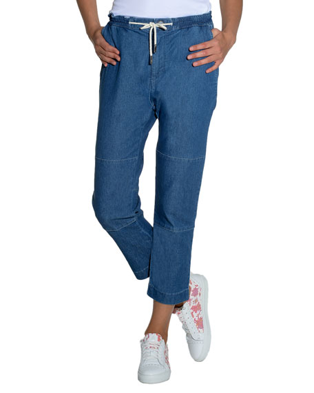 Soft Denim Drawstring Pants