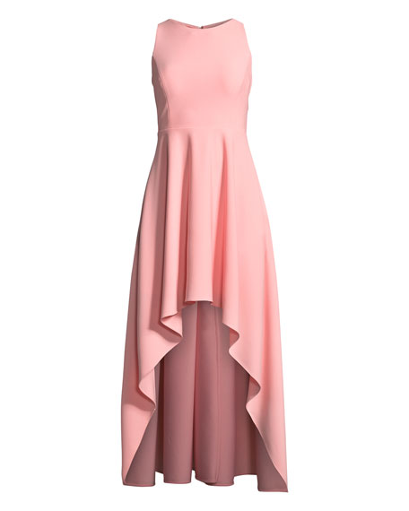 Scuba Crepe Strappy High-Low Dress