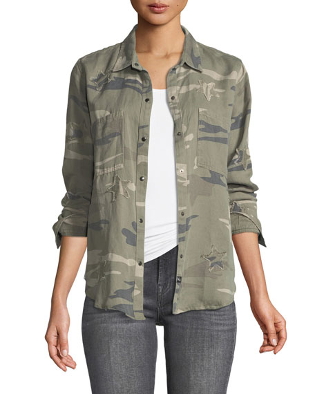 Marcel Snap-Front Long-Sleeve Camo Shirt Jacket with Stars