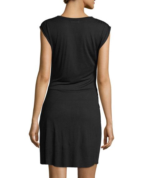 Elsie Crewneck Cap-Sleeve Knotted Jersey Dress