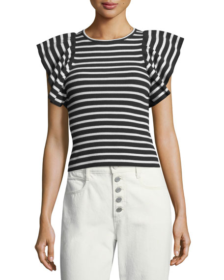 A.L.C. Draper Crewneck Striped Ribbed Top and Matching