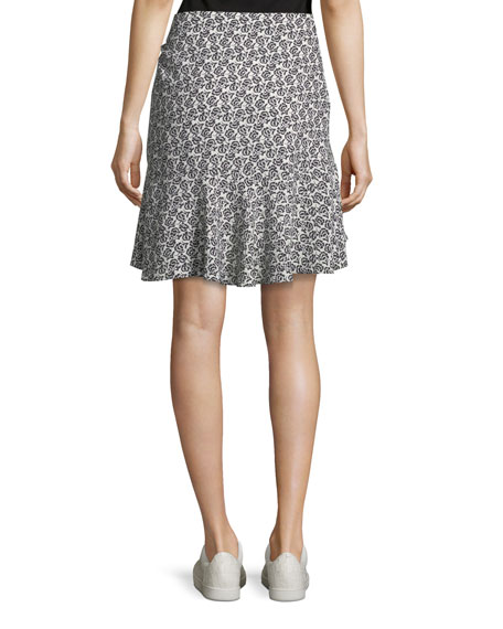 Farrow Mini-Floral Silk Flounce Skirt