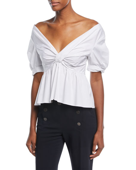 A.L.C. Moritz Off-the-Shoulder Twist-Front Cotton Poplin Top