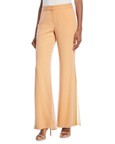 Victor Layered Flared-Leg Silk Pants