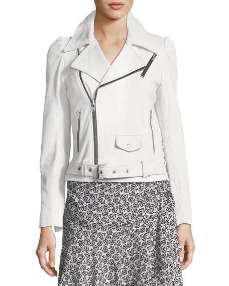Calix Leather Moto Jacket with Lace-Up Sides