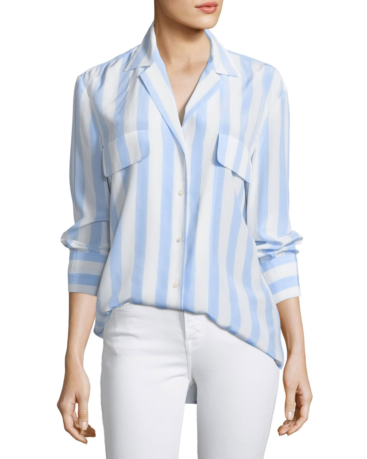 dc4b3237036039 FRAME Long-Sleeve Button-Front Striped Silk Blouse