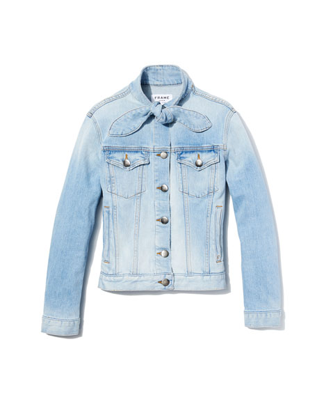 Le Tie-Neck Button-Front Light-Wash Denim Jacket