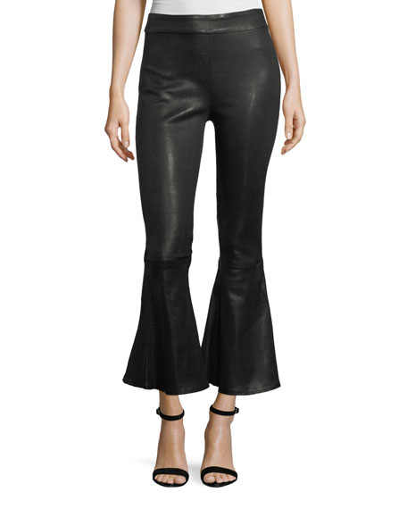 FRAME Flounce-Hem Pull-On Fitted Leather Pants