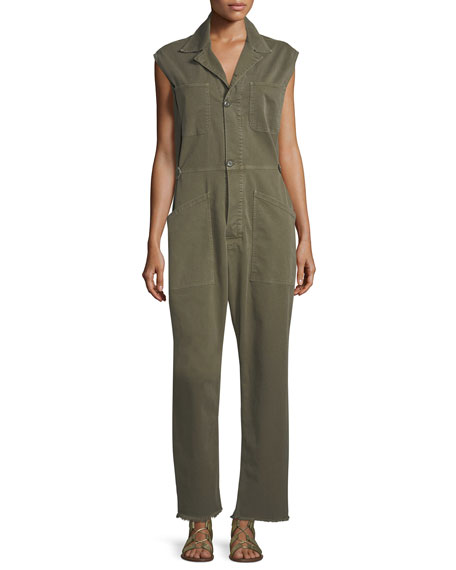 FRAME Le Service Sleeveless Button-Front Wide-Leg Jumpsuit