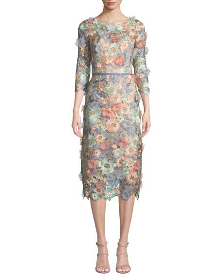 Marchesa Notte 3D Floral Guipure Lace V-Back Midi